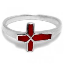 Anillo de Plata 925 cruz esmaltada rojo