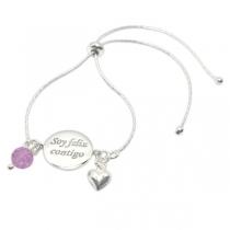 """Pulsera """"Soy Feliz Contigo"""" ajustable con dijes corazón y cristal violeta colgantes de Plata 925"""