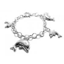Pulsera de Plata 925 rolo dijes delfín con cierre marinero