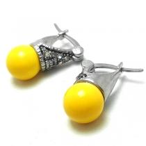 Aros Lady Di amarillos 8mm con cubics blancos de acero quirúrgico