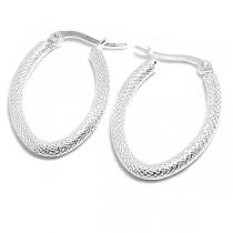 Aros argolla ovalada diamantada 22mm de acero blanco