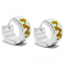PACK x6 Aros cubanos esmaltados blanco y dorado de acero blanco
