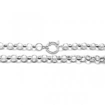 Cadena rolo 5mm 50cm con cierre marinero de acero blanco
