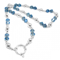 Cadena bolitas, piedras azules y cierre marinero 50cm de acero blanco