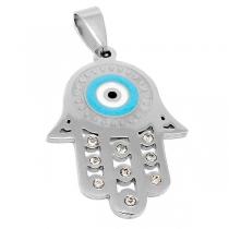 Dije mano de Fátima esmaltada con ojo turco y cubics de acero quirúrgico