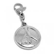 Dije símbolo de la paz con mosquetón de acero quirúrgico