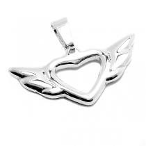 PACK x10 Dije corazón alado de acero blanco