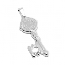 PACK de 5 Dijes llave con San Benito de acero blanco