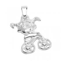 PACK de 5 Dijes nena en bicicleta de acero blanco