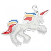 Dije unicornio esmaltado colores de acero blanco