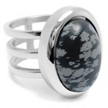 Anillo triple con piedra obsidiana negra ovalada de acero quirúrgico