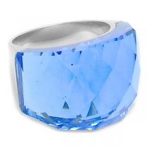 Anillo piedra facetada gruesa azul de acero quirúrgico