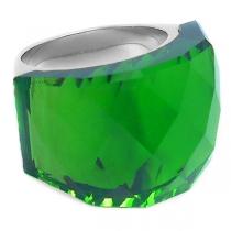 Anillo piedra facetada gruesa verde esmeralda de acero quirúrgico