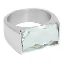 Anillo con cristal facetado rectangular transparente de acero quirúrgico