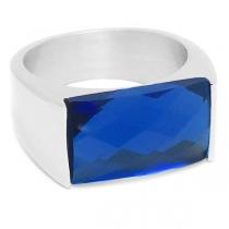 Anillo con cristal facetado rectangular azul de acero quirúrgico