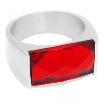 Anillo con cristal facetado rectangular roja de acero quirúrgico