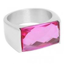 Anillo con cristal facetado rectangular rosa de acero quirúrgico