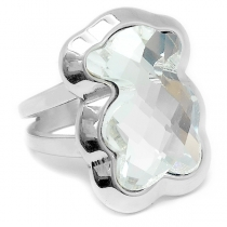 Anillo con cristal facetado transparente de acero quirúrgico