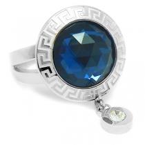 Anillo cristal facetado azul con guardo y cubic colgante de acero quirúrgico