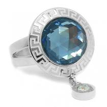 Anillo cristal facetado gris azulado con guarda y cubic colgante de acero quirúrgico