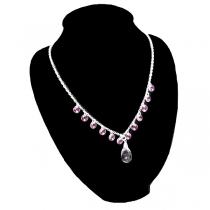 Cadena de Plata 925 espejito 2mm 45cm con piedras facetadas rosa y gota facetada trasparente