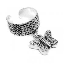 Aros de Plata 925 bidu con mariposa colgante