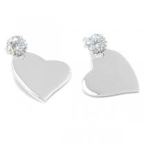 Aros de Plata 925 corazón liso con cubic blanco