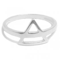 Anillo de Plata triangulo superpuesto