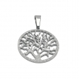 Dije árbol de la vida calado arenado de acero quirúrgico Alt: 40mm incl. argolla