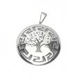 Dije árbol de la vida calado con fondo arenado de acero blanco Alt: 45mm incl. argolla