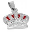 Dije corona tramada y esmaltada roja de acero quirúrgico